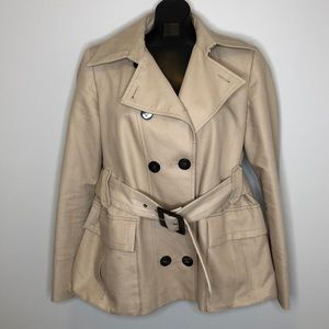 ZARA WOMAN tan belted double breasted trench XL